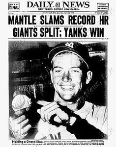 """Mickey Mantle shown on the back 'front page' of the New York """"Daily News"""" newspaper, April 18, 1953."""