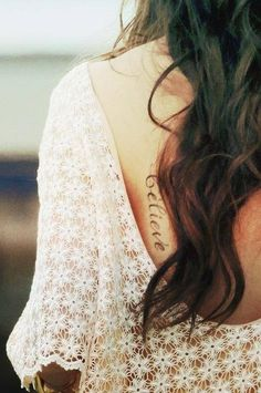 So pretty. Back tattoo. Believe. Pretty Tattoos, Love Tattoos, Beautiful Tattoos, Body Art Tattoos, New Tattoos, Tatoos, Cutest Tattoos, Star Tattoos, Beautiful Body