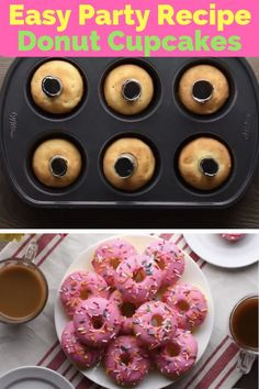 Cupcake donuts- **Video Inside** Party food should be easy. Don't miss this incredible discovery from So Yummy to serve DIY donuts using things we already had around the house! Donut Cupcakes, Diy Donuts, Cupcake Cakes, Doughnut Cake, Donut Birthday Parties, Donut Party, Cupcake Party, Donut Birthday Cakes, Diy Birthday Treats