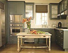 grey paint,wood floor.. Love this kitchen