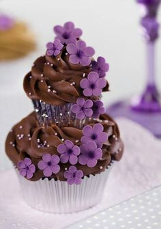 Pretty Cupcake! I love the use of large and mini cupcakes together!.Love the little purple flowers on them. Please check out my website Thanks.  www.photopix.co.nz