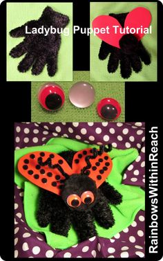DIY Ladybug Tutorial at RainbowsWithinReach (built on glove)