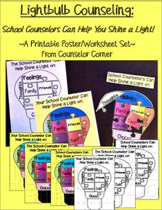A fun and practical set for you to use with students in individual, small group, and classroom settings. You can print out the version(s) of your choice in both color and blackline themes.Included in this set:1. Your School Counselor colored printable 2.