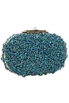 v/ Elie Saab - Accessories - 2013 Fall-Winter Beaded Clutch, Beaded Purses, Beaded Bags, Handbag Accessories, Fashion Accessories, Shades Of Teal, Bleu Turquoise, Elie Saab Fall, Evening Bags