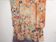 大正ロマン 錦紗桧扇に秋草模様刺繍五つ紋振袖