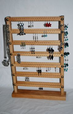 With love for wood - made by hand in the Czech Republic by Necklace Holder, Jewelry Holder, Jewelry Necklaces, Jewelry Stand, Jewelry Armoire, Jewelry Organization, Wine Rack, Ladder Decor, Woodworking