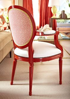 I am crazy about this chair! Quadrille fabric on chair back. Pops of orange in interior. Painted Chairs, Painted Furniture, Diy Furniture, Antique Chairs, Take A Seat, Dining Room Chairs, Dining Decor, Kitchen Chairs, Room Colors
