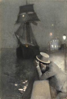 """Albert LYNCH (Lima, 1851 – ?)  """"Pierre évoquant le souvenir de Maréchal"""" – (Pierre evoking the memory of Maréchal) – Crayon, aquarelle et gouache 50 x 34 cm. Signé en bas à gauche : Albert Lynch"""
