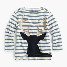 girls' striped reindeer t-shirt : girl new arrivals