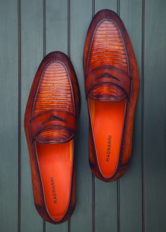 Magnanni | Exotic leather loafer in cognac. A pebbled leather blend and lizard skin mocassin. Available at www.magnanni.com www.magnanni.com/shop/camerino-cognac