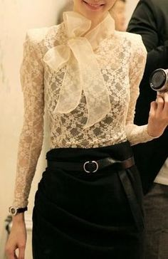 Graceful Stand Collar Big Bowknot Embellished Long Sleeve Solid Color See-Through Lace Women's Blouse Mode Chic, Mode Style, Style Me, Black And White Outfit, Lingerie Look, Ivory Lace Top, Mode Lookbook, Look Fashion, Womens Fashion