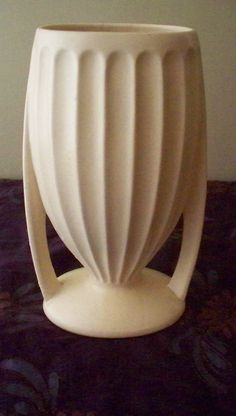 McCoy Pottery Art Deco Style Vase Ribbed by vintagesouthwest, $35.00