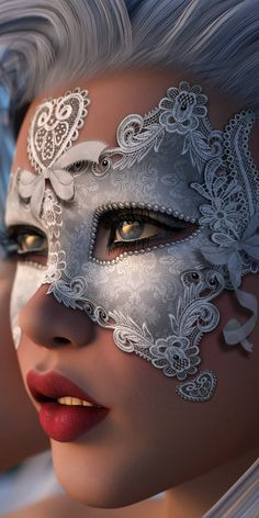 Silver hair and long eyelashes, masquerade ball make-up, face paint. Silver and white mask, lace detailing. Maquillage Halloween, Halloween Makeup, Masquerade Party, Masquerade Masks, Halloween Masquerade, Carnival Masks, Venetian Masks, Beautiful Mask, Digital Portrait