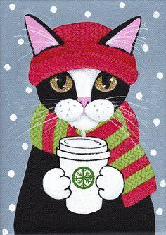 Winter Coffee Cat  Original Folk Art Painting by KilkennycatArt
