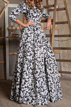 Black Floral Ruffle Round Neck 3/4 Length Sleeve Islamic Muslim Cocktail Bohemian Maxi Dress
