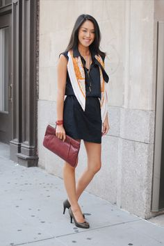"""10 R29 Interns Show Off Their Fave On-The-Job Looks #refinery29  http://www.refinery29.com/intern-perfect-outfits#slide7  Kamiu Lee, marketing/partnerships internFavorite R29 assignment: """"I did a lot of research into the London market, a potential city for Refinery29 to expand. Loved the assignment as I got to get back in touch with some of my friends in London to chat about all their current favorite shops and sites.""""Edun dress, scarf and bracelet from Hermès, vintage clutch and belt from a…"""