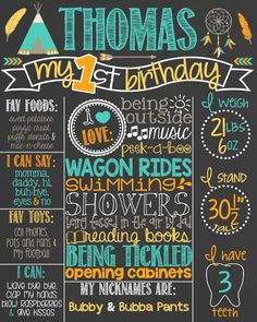 Tribal First Birthday Chalkboard Poster // Girl 1st Birthday Chalk Board // Arrow Theme // Pow Wow // TeePee // Tee Pee // Camping by PersonalizedChalk on Etsy https://www.etsy.com/listing/240857446/tribal-first-birthday-chalkboard-poster