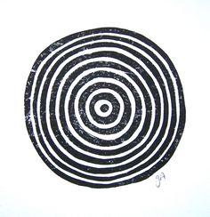 LINOCUT PRINT - geometric circles - black block print 8x10 tree ring bullseye by thebigharumph on Etsy https://www.etsy.com/listing/218112551/linocut-print-geometric-circles-black