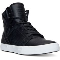Supra Men's Skytop High-Top Casual Sneakers from Finish Line (145 CAD) ❤ liked on Polyvore featuring men's fashion, men's shoes, men's sneakers, shoes, men, mens shoes, supra mens shoes, mens high top shoes, mens black hi top sneakers and mens high tops