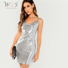 Shein Silver Form Fitting Metallic Cami Draped Neckline Keyhole Back Bodycon Dress Summer Women Solid Party Short Sexy Dresses Party Dresses For Women, Sexy Dresses, Short Dresses, Mini Dresses, Short Skirts, Metallic Bodycon Dresses, Silver Metallic Dress, Bodycon Dress Parties, Going Out Dresses