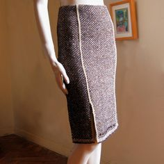 Prada F/W 2000 tweed skirt with grosgrain and wood button trim