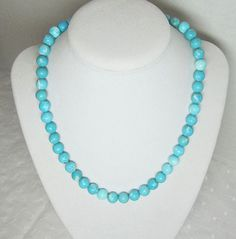 "Beautiful Blue Color Turquoise Beaded Necklace Large Round 10mm Beads and 3"" Extender Chain http://etsy.me/1iTLHqc via @Etsy #turquoisenecklace by LuvaBead, $25.00"