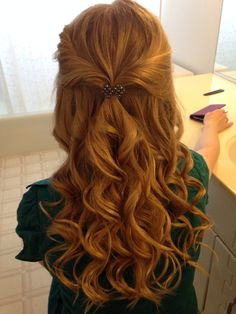 Curly prom hair. Blonde. Half up. Down. Simple. Homecoming. Cute. Pretty. Beautiful. Red. Accessories.
