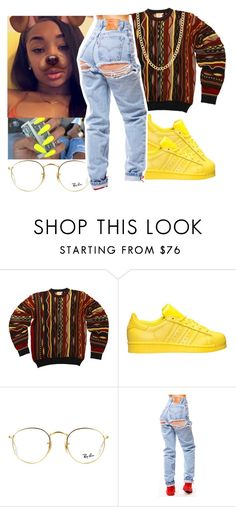 """Yellow"" by aboveandbeyond ❤ liked on Polyvore featuring adidas, Ray-Ban and Fremada"