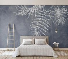 Leaf Wallpaper Tropical Wall Murals Monochrome Wall Decor Palm Tree Leaves Wall Art Tropic Home Design Natural Cafe Decor Living Room Bedroo Bedroom Murals, Bedroom Decor, Bedroom Beach, Bedroom Wall Designs, Bedroom Sets, Girls Bedroom, Bedrooms, Wall Painting Living Room, Kids Wall Murals