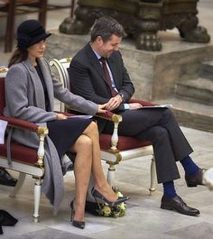 Crown Princess Mary and Crown Prince Frederik held hands (pictured) during the service in Church of Our Lady, which the church holds sentimental value for the Royal couple - where they wed in 2004