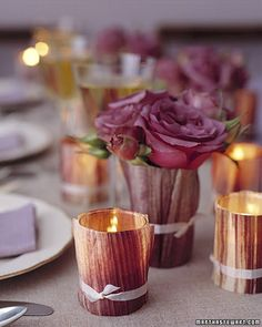 Wrapped in dried cornhusks, glass votives cast a soft glow and make beautiful fall favors.