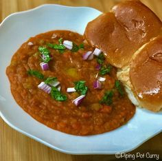Easy one-pot Pav Bhaji recipe, for the most popular Indian street food. A spiced mashed vegetable curry made in less than 30 minutes in the pressure cooker. Indian Potato Recipes, Easy Indian Recipes, Curry Recipes, Vegetarian Recipes, Cooking Recipes, Lunch Recipes, Diet Recipes, Instant Pot Pressure Cooker, Pressure Cooker Recipes
