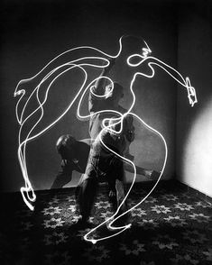 """life:  """" Pablo Picasso painting with light - 1949. (Gjon Mili—The LIFE Picture Collection/Getty Images) #TBT #LIFElegends  """""""