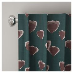 """Unlined Poppy Floral Curtain Panel Turquoise (50""""x63"""") - Skyline Furniture"""