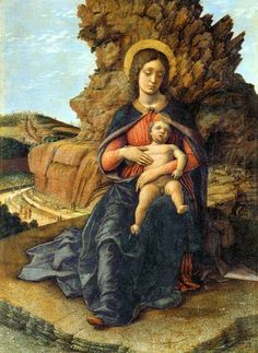 Madonna of the Caves, by Andrea Mantegna, 1489–1490  (traitement de l'écorce et de la roche)