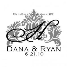 Flourish Damask Wedding Monogram Logo Design $5 #jenniferalisondesigns.com