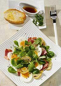 Feldsalat mit Champignons und Balsamicodressing