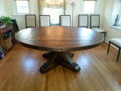 c4a03300988 Antique Reclaimed Barn Wood Round Pedestal Dining Table -X Style Pedestal -  Plank Top - Custom Sizes Available