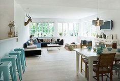 Love this modern look and cool colour palette , this is a funky way to add a pop of colour with the aqua Tolix Stool. White Farmhouse Table, Cool Color Palette, Cool House Designs, Interior Inspiration, Kitchen Inspiration, Kitchen Ideas, My Dream Home, Living Area, Home Furnishings