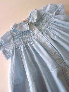 Vintage Smocked Baby Dress with Embroidery, circa 50's