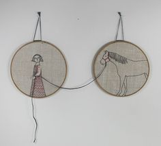 hand embroidery hoop art- girl and her horse textile art fiber art. $275,00, via Etsy.