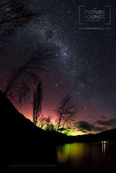 The Southern Lights over Lake Wanaka, NZ.