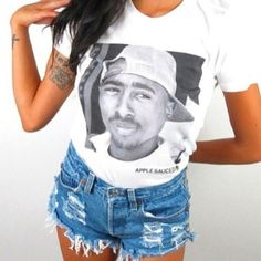 Black and White Tupac Shirt by BicheApparel on Etsy, $18.00