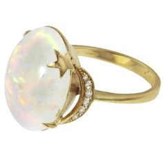 Andrea Fohrman Opal Crescent Moon And Star Ring ($5,000) ❤ liked on Polyvore featuring jewelry, rings, star opal ring, 14k jewelry, cocktail rings, handcrafted rings and gold band ring