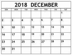 16 Best December 2018 Printable Calendar Images