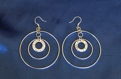 Sterling Silver Triple Hoop Earrings Silver Hammered Hoops Big Silver Hoop Earrings