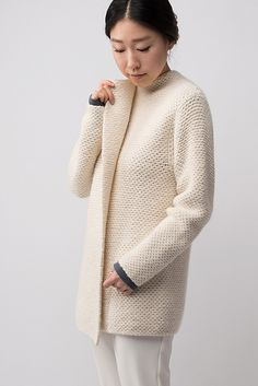 Shibui Knits FW15 | Emboss by Shellie Anderson, knit with 2 strands of Shibui Maai held together throughout.