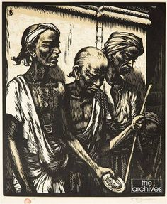 'Indian Beggars, Ceylon' by TF Šimon. Tavík František Šimon better known as TF Šimon (May 13, 1877 – December 19, 1942, Prague), was a Czech painter, etcher, and woodcut artist who travelled to Ceylon in the 1920's, who showcased numerous paintings of Ceylon both in books published by him & various exhibitions.