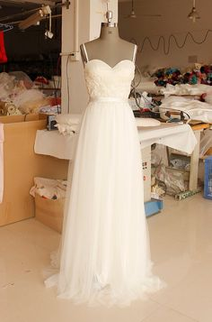 Backless Tulle Sweep Train Wedding Dress