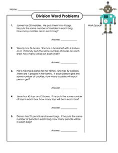 Help your child practice their basic division skills with this free division word problems worksheet today! #basicdivision #divisionpractice #freemathworksheets #wordproblems
